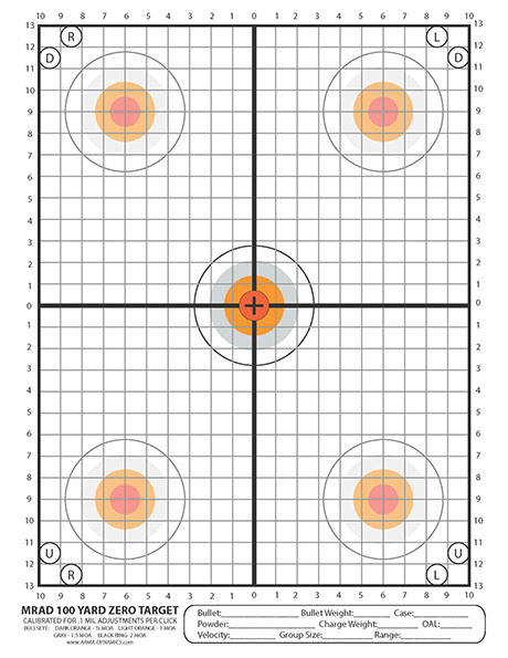 image relating to 100 Yard Zero Target Printable referred to as ARMA DYNAMICS - Printable Goals