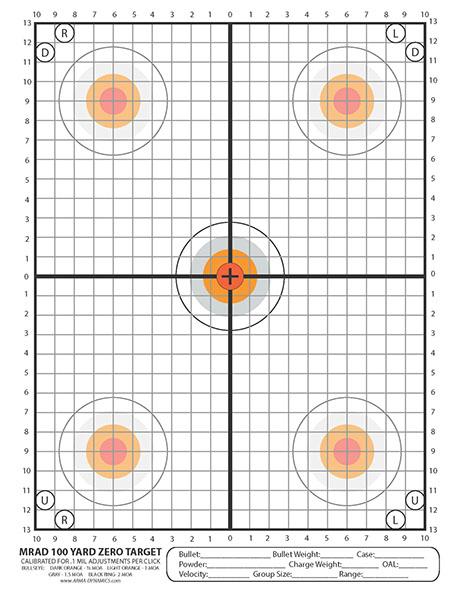 photograph about Printable 50 Yard Zero Target titled ARMA DYNAMICS - Printable Aims