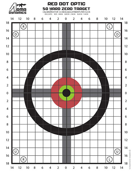 photograph regarding Ar15 25 Yard Zero Target Printable known as ARMA DYNAMICS - Crimson Dot Zero Aims