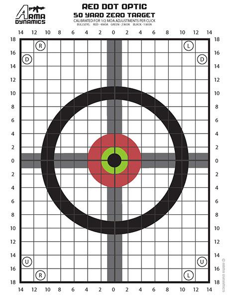 graphic relating to Printable Zeroing Targets known as ARMA DYNAMICS - Purple Dot Zero Goals